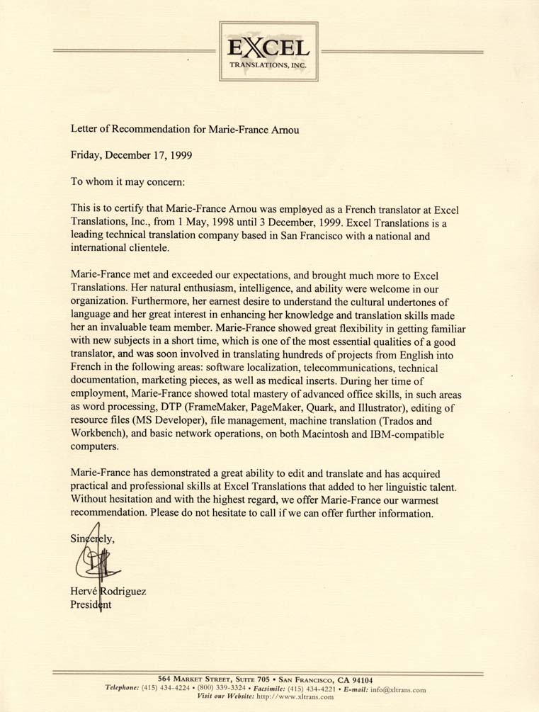Experience read the letter of recommendation written for me by herv rodriguez president of excel translations inc spiritdancerdesigns Images